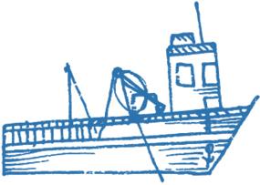Navire bleu